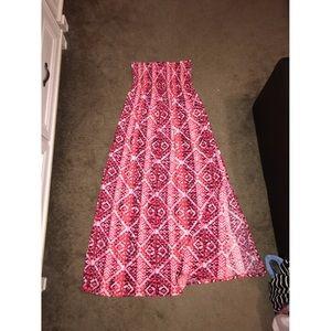 Slit Maxi strapless elastic top dress L
